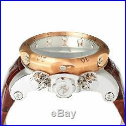 0359 Invicta Reserve 52mm Men Venom Chronograph Silver Dial RG Bezel Strap Watch
