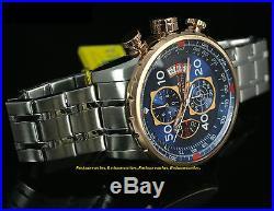17203 Invicta 48mm Men AVIATOR Swiss Quartz Chronograph Blue Dial Bracelet Watch