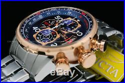 17203 Invicta Aviator Men's18K Rose Gold Plated Blue Dial Tachy S. S Chrono Watch