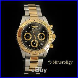 23k Gold Plated Invicta Speedway Chronograph Two Tone Black Dial $375 Mens Watch