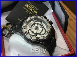 24278 Invicta Excursion 52mm Mens Quartz Chronograph Silver Dial BLK Strap Watch