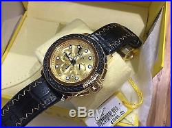 24442 Invicta Bolt Mens 52mm Quartz Chronograph Gold Dial Leather Strap Watch