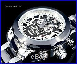 50MM Invicta Men's Skull Quartz Chronograph Black Dial Two Tone Bracelet Watch