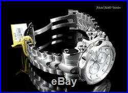 52MM Invicta Reserve Men's Venom ALL SILVER Quartz Chronograph Bracelet Watch
