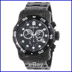Invicta 0076 Men's Pro Diver Black Dial Black IP Steel Bracelet Chrono Watch