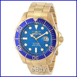 Invicta 14357 Men's Pro Diver Blue Carbon Fiber Dial Gold Steel Bracelet Watch