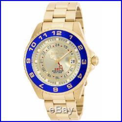Invicta 17153 Men's Pro Diver Gold Dial Blue Bezel GMT Dive Watch