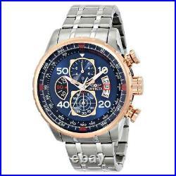 Invicta 17203 Men's Aviator Steel Bracelet Blue Dial Chrono Watch