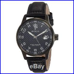 Invicta 17911 Men's Sea Base Black Carbon Fiber Dial Black Leather Strap Watch