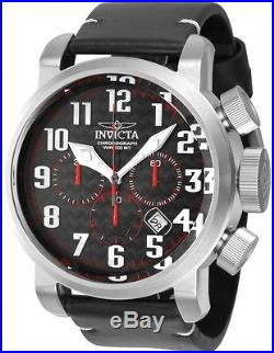 Invicta 22261 Men's Aviator Black Carbon Fiber Dial Chronograph Leather Watch