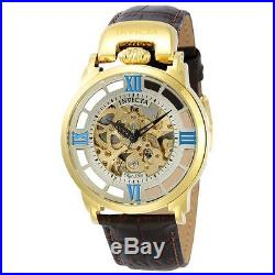 Invicta 22614 Men's Skeleton Dial Brown Strap Automatic Watch