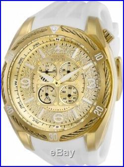Invicta 28080 Aviator Men's Chronograph 50mm Gold-Tone White Rubber Watch