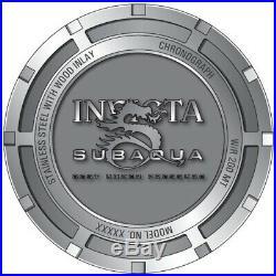 Invicta 28257 Subaqua Men's 52mm Chronograph Gold-Tone Silver Wood Dial Watch