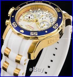 Invicta 48m Men Pro Diver Scuba Chronograph 18K Gold IP Stainless Steel PU Watch