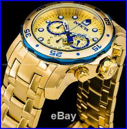 Invicta 48mm Mens Pro Diver Scuba Chronograph 18K Gold Plated SS 200MT Watch