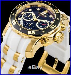Invicta 48mm Mens Pro Diver Scuba Chronograph Black Dial Gold Plated IP PU Watch