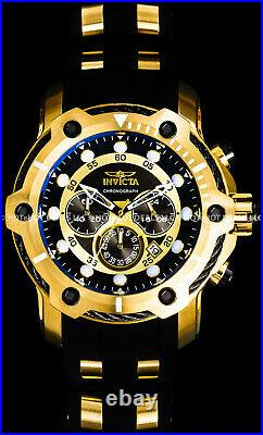 Invicta 52mm Mens BOLT Chronograph Black Dial 18K Gold Plated SS PU Strap Watch