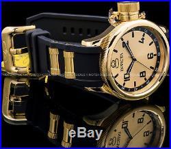 Invicta 52mm Mens Quinotaur Russian Diver Swiss Ronda 18K Gold Plated PU Watch