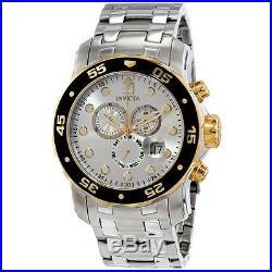 Invicta 80040 Mens Pro Diver Quartz Chronograph Silver Dial Watch
