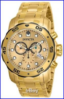 Invicta 80070 Men's Pro Diver Gold Steel Bracelet Chrono Watch