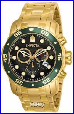Invicta 80074 Mens Pro Diver Black Dial Gold Plated Steel Bracelet Chrono Watch