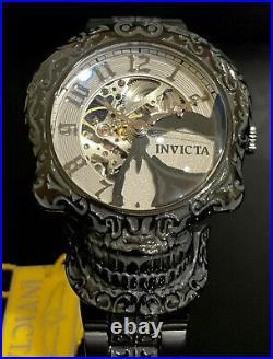 Invicta AUTOMATIC SKULL ARTIST SKELETONIZED Dial Black 50mm Men RARE Watch