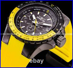 Invicta AVIATOR VOYAGE Multi Function Yellow BLACK Dial Nautical Men BOLD Watch
