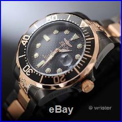 Invicta Automatic 18k Rose Gold Grand Diver 24 Jewel Gun Metal $795 Mens Watch