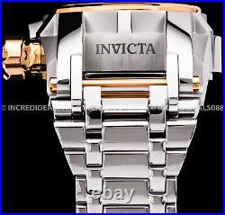 Invicta BOLT ZEUS MAGNUM Chronograph Rose Gold Silver GMT High Polish Men Watch
