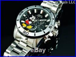 Invicta Disney Men's 48mm Pro Diver Chronograph BLACK DIAL Silver Tone SS Watch