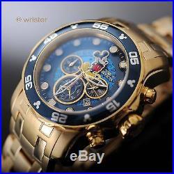 Invicta Disney Mickey Mouse Pro Diver Scuba Gold IP SS Blue Dial L. E. Mens Watch