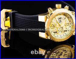 Invicta FLIGHT AVIATOR CHRONOGRAPH 18Kt Gold Plated Black Strap 50mm Men Watch