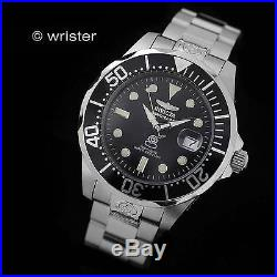 Invicta Grand Diver Automatic 24 Jewel Black Silver Stainless Steel Mens Watch