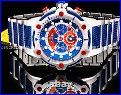 Invicta MARVEL CAPTAIN AMERICA BOLT Red Blue Silver Dial Bracelet 50mm Men Watch