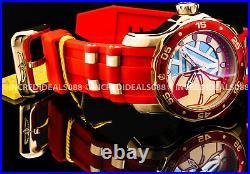 Invicta MARVEL IRON MAN TONY STARK Lt Ed 18K Gold Red Blue Dial Strap Men Watch