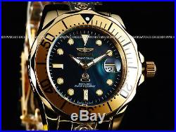 Invicta Men 300M Grand Diver Automatic Polished Black MOP Dial 18K Gold IP Watch
