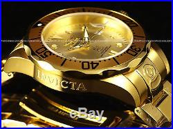 Invicta Men 300M Grand Diver NH35 Automatic 18KGP Champagne Sunray Dial SS Watch