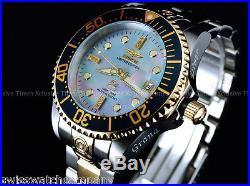 Invicta Men 300m Grand Diver Diamond Limited Ed Automatic Platinum MOP TT Watch