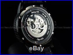 Invicta Men 42mm BlackGhost Objet d'Art Skeleton Black IP Auto Blk Strap Watch