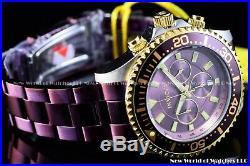 Invicta Men 47mm Grand Diver Purple Coffee Gold Chronograph 200M Diver Watch