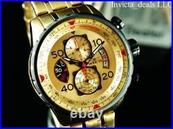 Invicta Men 48mm Aviator Chronograph Gold Dial 18K Gold Plated SS Bracelet Watch