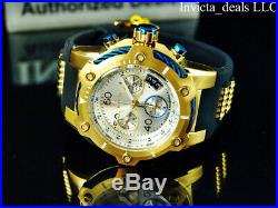 Invicta Men 50mm Bolt SWISS Z60 Chronograph Silver Dial 18K Gold Plated SS Watch