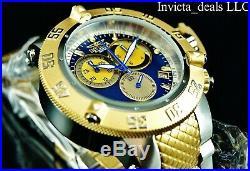 Invicta Men 50mm Subaqua Noma III Swiss Chronograph Blue Dial 18K GP 2Tone Watch