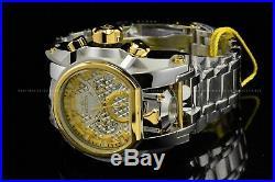 Invicta Men 52mm Bolt Zeus MAGNUM High Polish Silver Gold Chrono Dual Time Watch