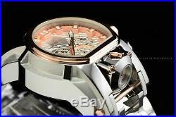 Invicta Men 52mm Bolt Zeus MAGNUM Polish Silver Rose Gold Chrono Dual Time Watch