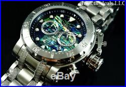 Invicta Men 52mm Coalition Forces Chronograph ABALONE Dial Silver Tone SS Watch