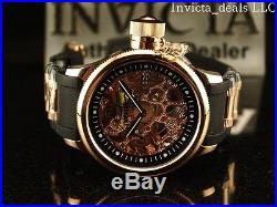 Invicta Men 52mm Mechanical Skeleton Russian Diver 18K Rose Gold Plated SS Watch