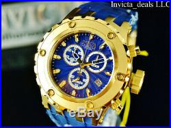 Invicta Men 52mm Reserve Subaqua Diver Swiss Chrono Blue Dial Gold Tone SS Watch