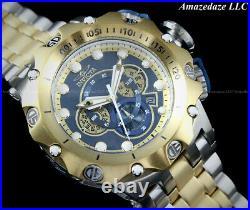 Invicta Men 52mm Venom Hybrid Chronograph 2 Tone Stainless Steel BLUE DIAL Watch