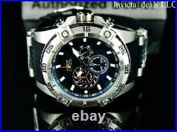Invicta Men 54mm SPEEDWAY VIPER Gen III Chronograph BLACK DIAL Silver Tone Watch